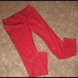 HUE red faux leather leggings spandex nylon